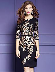 cheap -YHSP Women's Slim Bodycon Sheath Little Black Dress - Solid Patchwork, Lace Cut Out