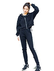 preiswerte -Damen Laufshirt mit Laufhose Langarm Atmungsaktivität Kleidungs-Sets für Rennen Baumwolle Polyester Nylon Schwarz Armeegrün M L XL