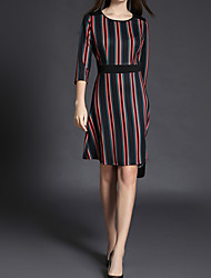 cheap -Women's Going out Casual Sheath Knee-length Dress, Striped Round Neck 3/4 Length Sleeves Spring Summer
