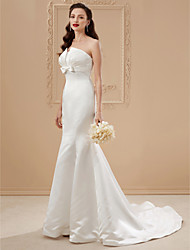 cheap -Mermaid / Trumpet Strapless Sweep / Brush Train Satin Wedding Dress with Bow(s) Draping by LAN TING BRIDE®