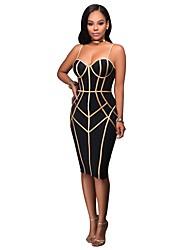cheap -Women's Party Club Sexy Bodycon Sheath Dress,Geometric Strap Knee-length Sleeveless Polyester Elastane Summer High Waist Micro-elastic