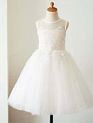 cheap -Ball Gown Knee Length Flower Girl Dress - Satin Tulle Sleeveless Jewel Neck with Appliques by LAN TING Express