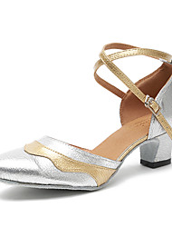 cheap -Women's Dance Sneakers Modern Swing Shoes Samba Leatherette Sneaker Training Beginner Chunky Heel Silver Customizable