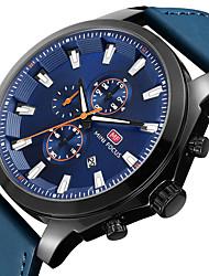 abordables -Hombre Reloj Casual Reloj de Pulsera Japonés Cuarzo Calendario Cronómetro Reloj Casual Cuero Auténtico Banda Casual Cool Minimalista