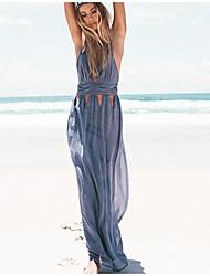 baratos -Mulheres Bainha Vestido Sólido Decote V Longo