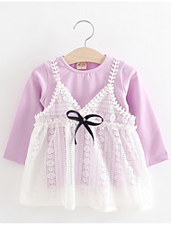 cheap -Baby Girl's Birthday Solid Dress,Polyester Long Sleeve Lavender White