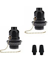 cheap -2 pcs E26 E27 Bakelite Base Bulb Socket Lamp Holder With Pull Chain Switch Vintage Edison Pendant Lamp Holder DIY