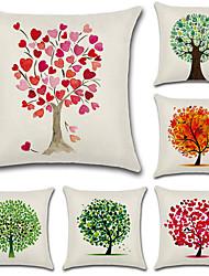 baratos -6 pçs Algodão/Linho Cobertura de Almofada, Floral Árvores/Folhas Estilo Boêmio