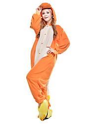Недорогие -Пижамы кигуруми Дракон Комбинезон-пижама Пижамы Костюм Флис Синтетика Оранжевый Косплей Для Взрослые Нижнее и ночное белье животных