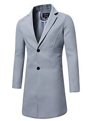 cheap -Men's Casual Long Cotton Trench Coat - Solid Colored Shirt Collar / Long Sleeve