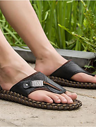 cheap -Men's Shoes Cowhide Summer Comfort Slippers & Flip-Flops for Casual Black Brown