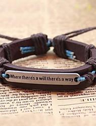 cheap -Men's Boys' Leather Bracelet Vintage Bracelet Retro / Vintage Adjustable Handmade Inspirational Leather Jewelry Gift Daily Casual Sports