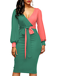 cheap -Women's Bodycon Dress - Color Block, Ruched High Waist V Neck
