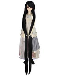 Недорогие -Парики из искусственных волос Естественные прямые Искусственные волосы Черный Парик Жен. Очень длинный парик куклы Без шапочки-основы