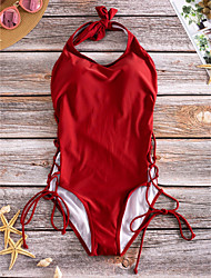 cheap -Women's Halter Neck One-piece - Solid Colored Lace up Briefs