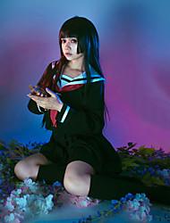 baratos -Inspirado por Menina do Inferno Ai Enma Anime Fantasias de Cosplay Ternos de Cosplay Estampado Blusa Saia Meias Gravata Para Mulheres