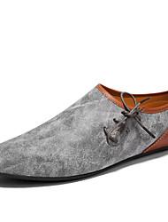 baratos -Homens sapatos Pele Couro Primavera Verão Conforto Mocassins e Slip-Ons Estampa Animal para Casual Bege Cinzento Marron