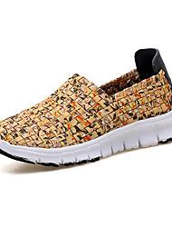 baratos -Mulheres Sapatos Tule Primavera Outono Conforto Tênis Corrida Sem Salto Dedo Fechado para Atlético Casual Preto Laranja Amarelo