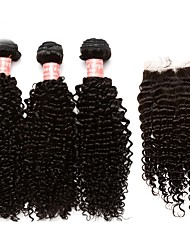 cheap -Brazilian Hair Kinky Curly Human Hair Weaves 4pcs Hair Weft with Closure