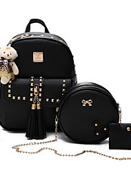 cheap -Women's Bags Polyester / PU Bag Set 3 Pcs Purse Set Beading / Tassel / Zipper for Casual Black / Blushing Pink / Gray