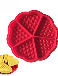 cheap -Heart Shape Waffle Mold 5-Cavity Silicone Oven Pan Baking Cookie Cake Muffin Cooking Tools