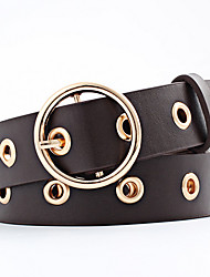 cheap -Women's Leather Alloy Waist Belt,Beige Camel Gray Light Blue Light Brown Casual