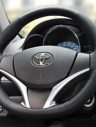 abordables -Protège Volant Cuir véritable 38cm Noir / Rouge For Toyota Yaris Toutes les Années