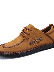 Недорогие -Муж. обувь Кожа Весна Лето Удобная обувь Туфли на шнуровке для Повседневные Офис и карьера Черный Желтый Хаки