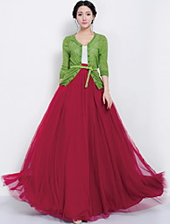 cheap -Women's Daily Maxi Skirts,Casual Swing Linen Print Winter Fall