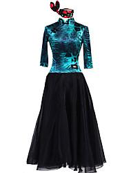 cheap -Ballroom Dance Dresses Women's Performance Chinlon Elastane Chiffon Tulle Pattern / Print 3/4 Length Sleeves Natural Dress