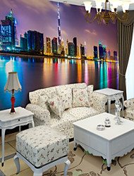 cheap -Art Deco 3D Home Decoration Contemporary City/Flag Wall Covering, Canvas Material Adhesive required Mural, Room Wallcovering