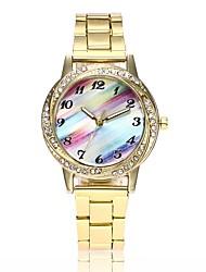 abordables -Femme Quartz Montre Bracelet Chinois Imitation de diamant Montre Décontractée Alliage Bande Décontracté Montre Habillée Mode Argent Doré