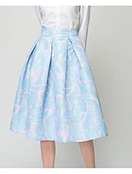 preiswerte -Damen Einfach Alltag Knie-Länge Röcke A-Linie, Polyester Frühling