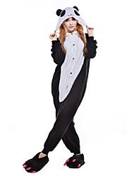 cheap -Adults' Kigurumi Pajamas Panda Onesie Pajamas Costume Polar Fleece / Synthetic Fiber Black / White Cosplay For Animal Sleepwear Cartoon Halloween Festival / Holiday