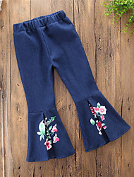 cheap -Girls' Daily Going out Solid Floral Jeans, Cotton Polyester Spring All Seasons Vintage Casual Blue