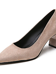 cheap -Women's Shoes Flocking PU Spring Fall Comfort Heels High Heel Pointed Toe for Casual Brown Beige Black