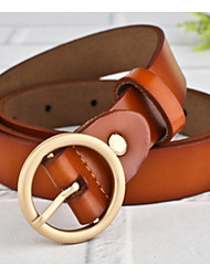 cheap -Unisex Genuine Leather Waist Belt,Brown Wine Casual Stylish