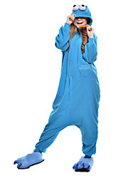 abordables -Pyjamas Kigurumi Cookie Anime / Monster Combinaison de Pyjamas Costume Polaire / Fibre synthétique Bleu Cosplay Pour Adulte Pyjamas