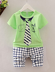 cheap -Boys' Daily Clothing Set, Cotton Summer Short Sleeves Casual Blue Green Yellow