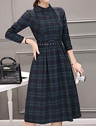 baratos -Feminino Camisa Vestido,Casual Fofo Listrado Colarinho Chinês Médio Manga Comprida Poliéster Outono Cintura Média Micro-Elástica Opaca