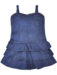 cheap -Girl's Daily Solid Dress, Cotton Summer Sleeveless Casual Blue