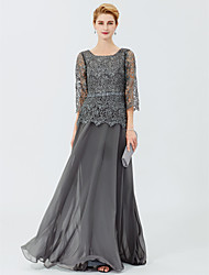 cheap -A-Line Princess Scoop Neck Floor Length Chiffon Lace Mother of the Bride Dress with Beading Sash/Ribbon by LAN TING BRIDE®