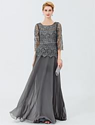 baratos -Linha A Princesa Longo Chiffon Renda Vestido Para Mãe dos Noivos - Miçangas Faixa/Tiras de LAN TING BRIDE®