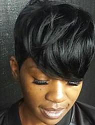 Недорогие -Человеческие волосы без парики Натуральные волосы Естественные волны Стрижка под мальчика Боковая часть Машинное плетение Парик Жен.