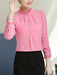 cheap -Women's Polyester Blouse - Solid Stand