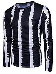 abordables -Tee-shirt Homme, Couleur Pleine - Coton Soirée Chic de Rue Col Arrondi