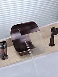 cheap -Antique Widespread Waterfall Handshower Included Single Handle Three Holes Oil-rubbed Bronze, Bathtub Faucet