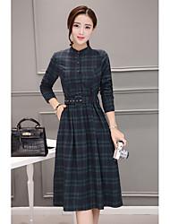 abordables -Mujer Corte Bodycon Vestido A Rayas Alta cintura Escote Chino