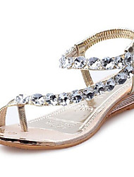 cheap -Women's Shoes Sparkling Glitter PU Spring Summer Comfort Sandals Flat Heel for Casual Gold Silver