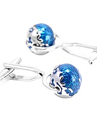 cheap -Globe Button Blue Cufflinks Copper Formal Simple Daily Formal Men's Costume Jewelry